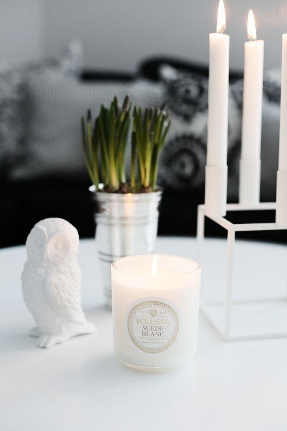 Luxusní svíčka Suede Blanc