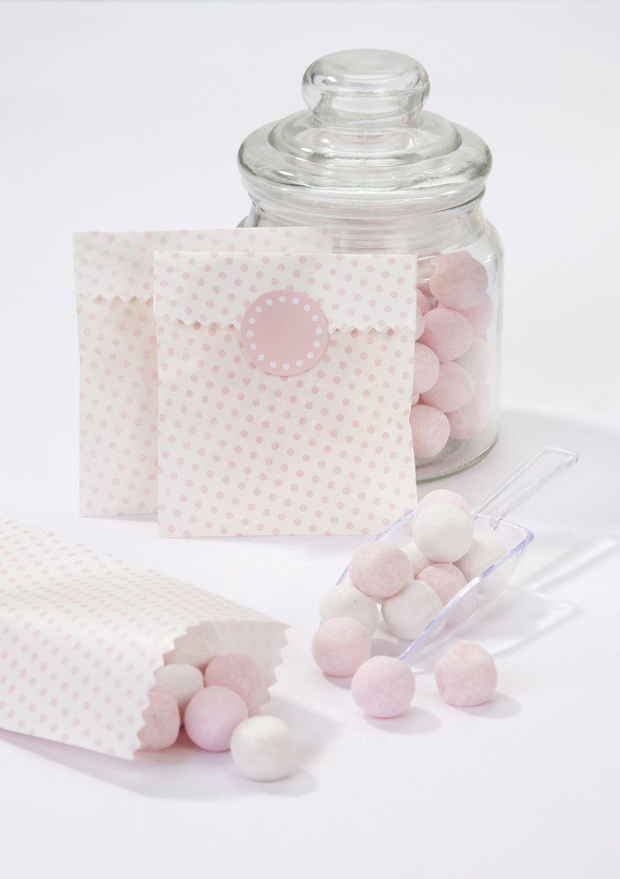 Papírové mini sáčky s nálepkami Dot Pink - set 10 ks