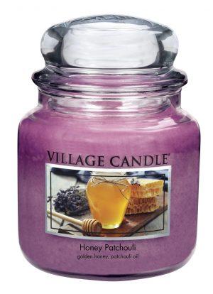 Svíčka ve skle Honey Patchouli – střední