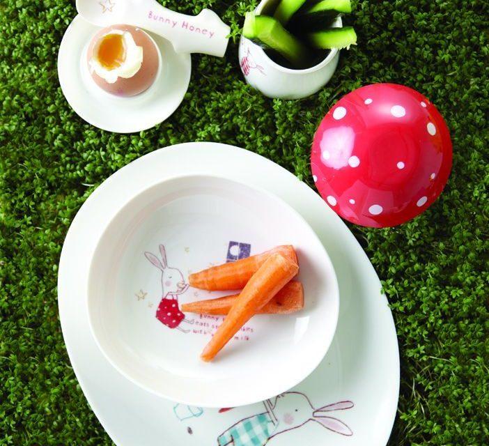 Melaminové nádobí pro děti se zajíčky Maileg