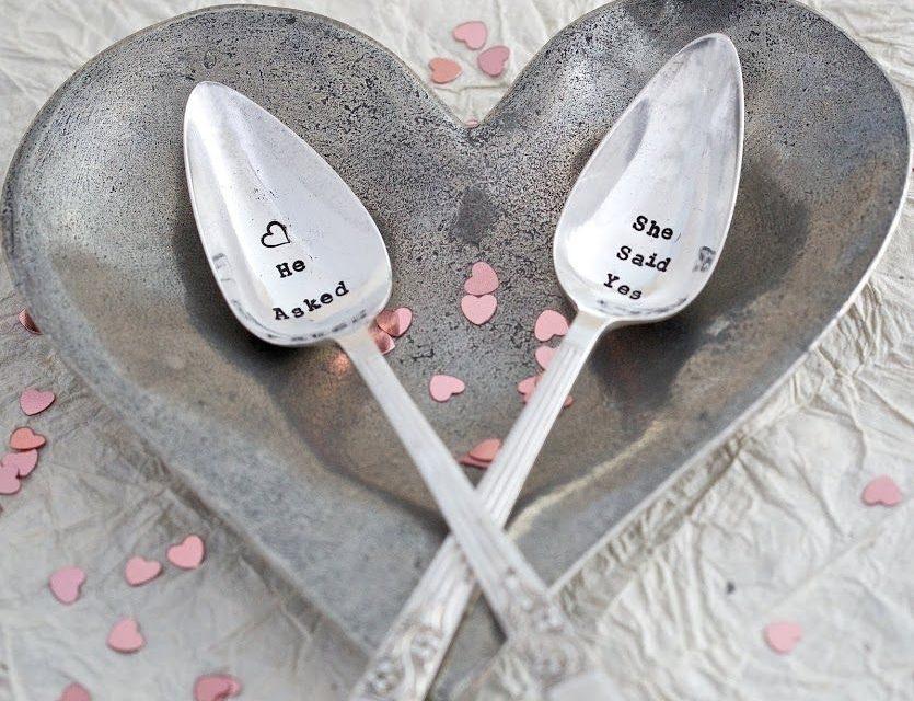 Postříbřený set čajových lžiček He Asked And She Said YES! - La De Da! Living