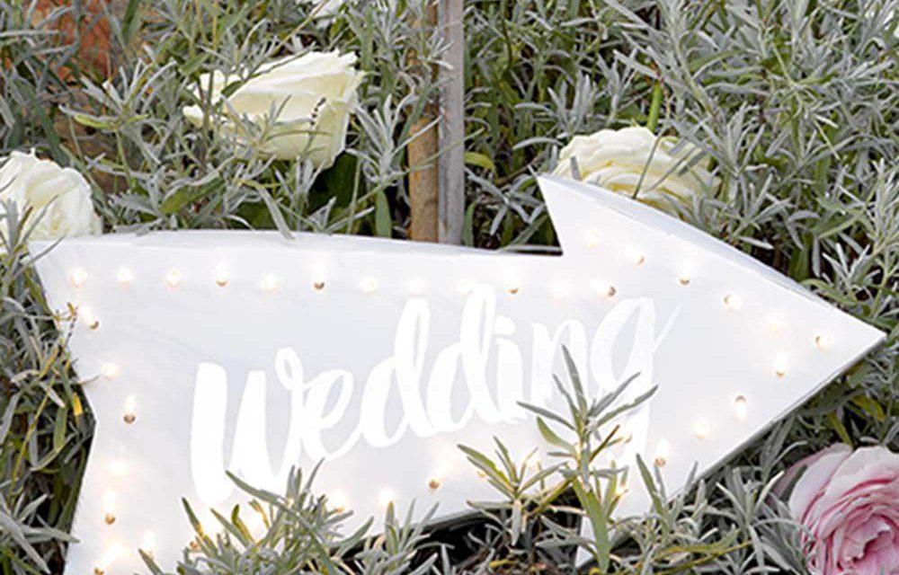 Papírová světelná LED cedule Wedding - Talking Tables