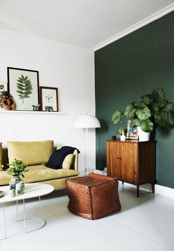 Stena v tmavej zelenej farbe.