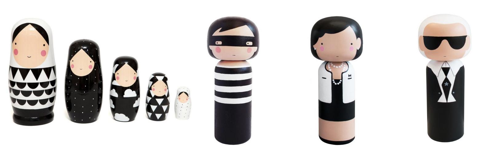Nordic dekorácie, kokeshi bábiky