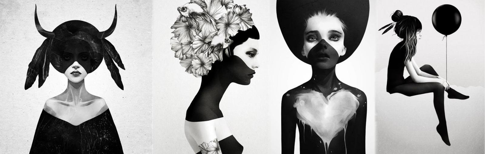 Dizajnový čiernobiely plagát