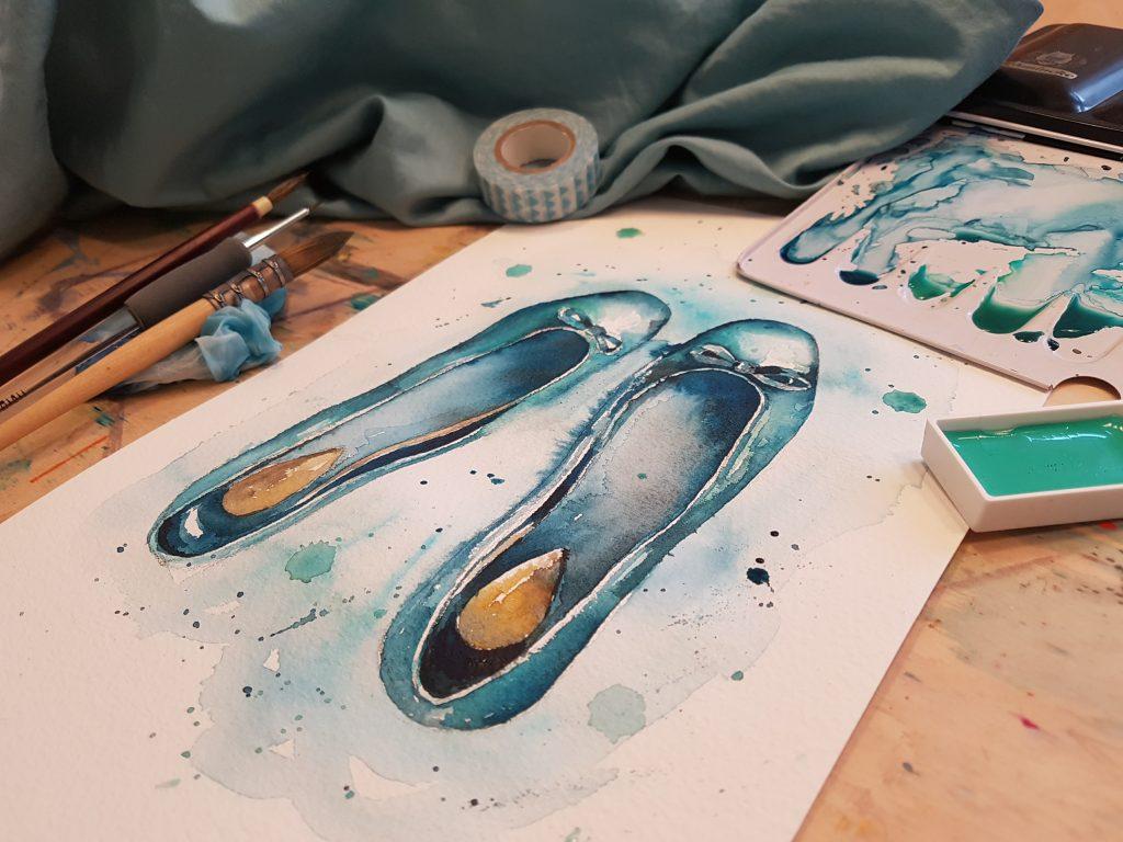 Akvarelové malby někdy Jitka přenáší i na textil