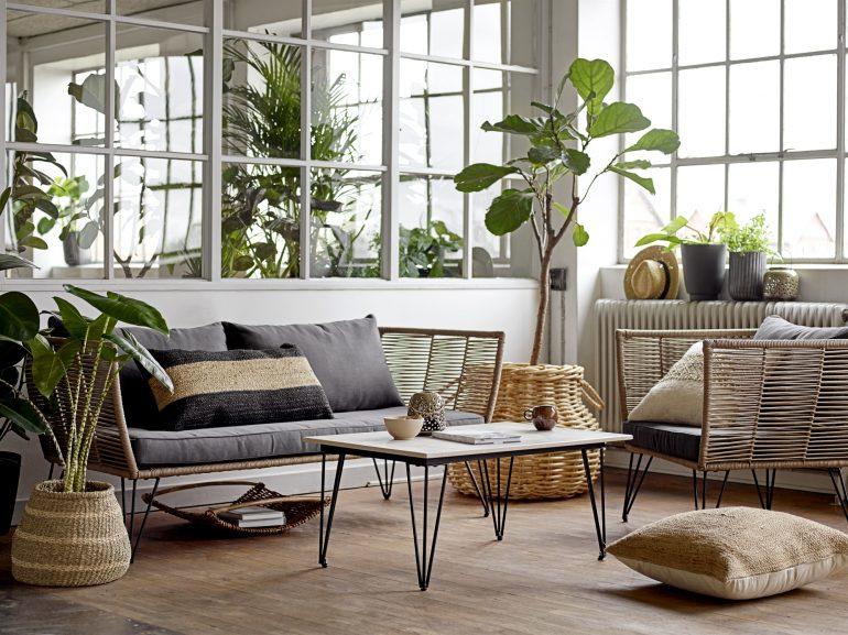 obývací pokoj v boho stylu
