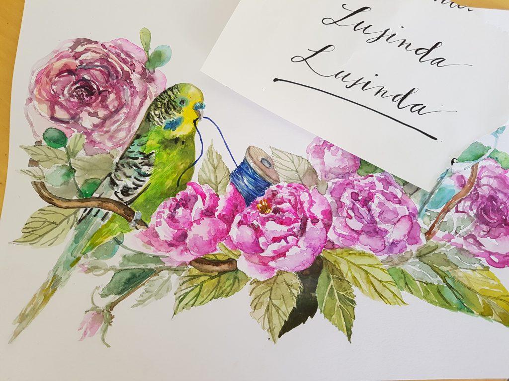 Akvarelové maľby dokáže skvele doplniť kaligrafický nápis.