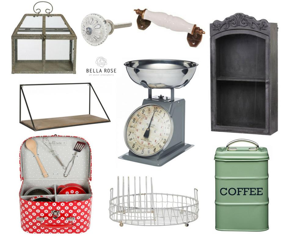 Produkty ve Vintage stylu: 1. Zahradní skleník 2. kovová úchytka 3. porcelánová úchytka 4. dřevěná skříňka 5. nástěnná polička 6. váha 7. dětské nádobí 8. odkapávač 9. dóza