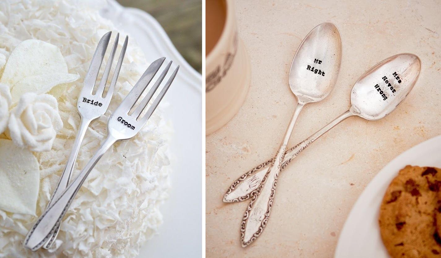 Z vintage lžiček s raženým nápisem jsou novomanželé vždycky nadšení, to můžeme potvrdit!