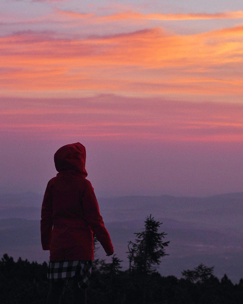 Blogerka Terezen a východ slunce v Krkonoších