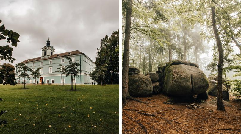 Blogerka Radka byla nadšená z nádvoří zámku Dačice a sklaního útvaru s příznačným názvem Ďáblova prdel :)