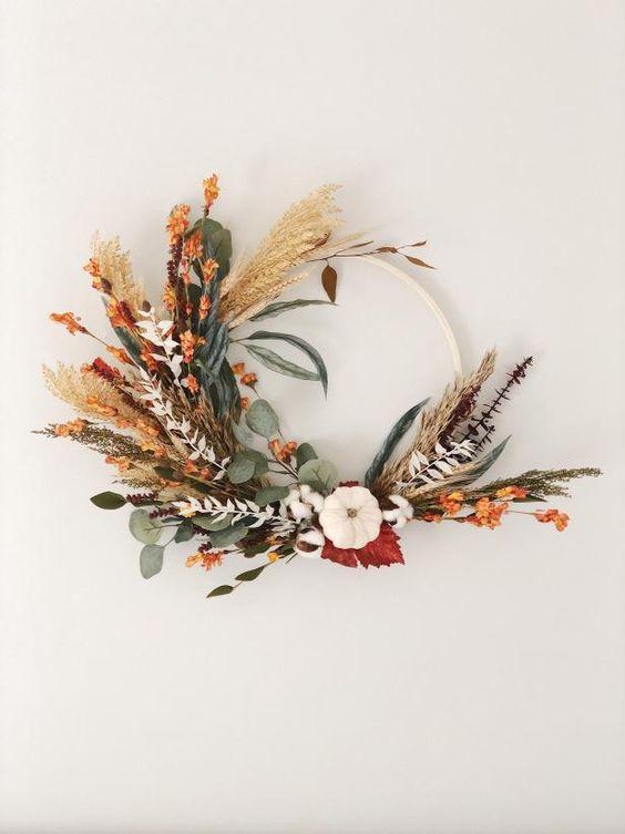 podzimní boho věnec