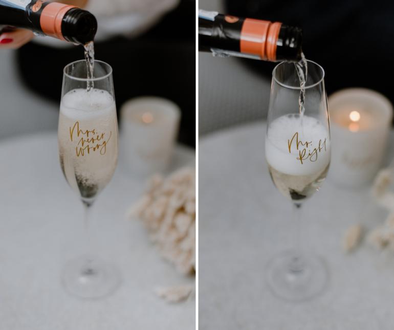 sklenice na šampaňské s nápisy